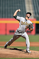 Oakland Athletics pitcher Kevin Johnson (39) during an Instructional League game against the Arizona Diamondbacks on October 10, 2014 at Chase Field in Phoenix, Arizona.  (Mike Janes/Four Seam Images)