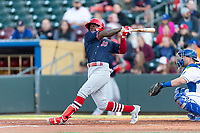 Memphis Redbirds right fielder Adolis Garcia (32) during a Pacific Coast League game against the Omaha Storm Chasers on April 26, 2019 at Werner Park in Omaha, Nebraska. Memphis defeated Omaha 7-3. (Zachary Lucy/Four Seam Images)