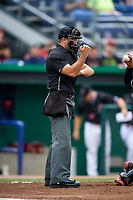 Umpire Thomas Fornarola strike call during a game between the Lowell Spinners and Batavia Muckdogs on July 14, 2018 at Dwyer Stadium in Batavia, New York.  Lowell defeated Batavia 8-4.  (Mike Janes/Four Seam Images)