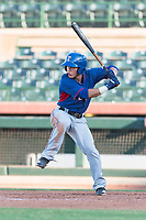 AZL Rangers shortstop Frainyer Chavez (60) at bat during an Arizona League game against the AZL Giants Black at Scottsdale Stadium on August 4, 2018 in Scottsdale, Arizona. The AZL Giants Black defeated the AZL Rangers by a score of 3-2 in the first game of a doubleheader. (Zachary Lucy/Four Seam Images)