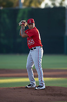 AZL Angels starting pitcher Jose Natera (55) prepares to deliver a pitch during an Arizona League game against the AZL Giants Black at the San Francisco Giants Training Complex on July 1, 2018 in Scottsdale, Arizona. The AZL Giants Black defeated the AZL Angels by a score of 4-2. (Zachary Lucy/Four Seam Images)