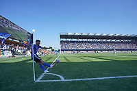 SAN JOSE, CA - AUGUST 8: Cristian Espinoza #10 of the San Jose Earthquakes takes a corner kick during a game between Los Angeles FC and San Jose Earthquakes at PayPal Park on August 8, 2021 in San Jose, California.