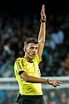 Referee Jesus Gil Manzano gestures during the La Liga match between FC Barcelona vs RCD Espanyol at the Camp Nou on 09 September 2017 in Barcelona, Spain. Photo by Vicens Gimenez / Power Sport Images