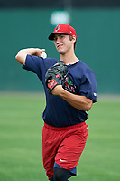 Lowell Spinners pitcher Jared Oliver (17) throws in the outfield during practice before a game against the Batavia Muckdogs on July 12, 2017 at Dwyer Stadium in Batavia, New York.  Batavia defeated Lowell 7-2.  (Mike Janes/Four Seam Images)