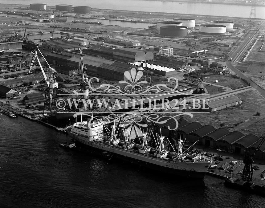 Juli 1967.  Scheepswerf Mercantile Marine Engineering in Antwerpen. Schip Geira.