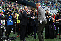 SEATTLE, WA - NOVEMBER 10: MLS Commissioner Don Garber shakes hands with Toronto FC legend Danny Dichio as Seattle Sounders FC owner Adrian Hanauer watches during a game between Toronto FC and Seattle Sounders FC at CenturyLink Field on November 10, 2019 in Seattle, Washington.