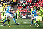 FK Trakai v St Johnstone…06.07.17… Europa League 1st Qualifying Round 2nd Leg, Vilnius, Lithuania.<br />Joe Shaughnessy's header is blocked<br />Picture by Graeme Hart.<br />Copyright Perthshire Picture Agency<br />Tel: 01738 623350  Mobile: 07990 594431