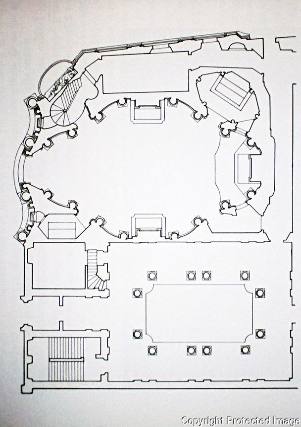 Plan of Baroque church of San Carlo alle Quattro Fontane, by Francesco Borromini, 1638-39. Rome