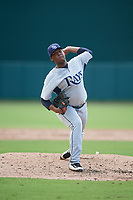GCL Rays relief pitcher Francisco Sanchez (27) delivers a pitch during a game against the GCL Orioles on July 21, 2017 at Ed Smith Stadium in Sarasota, Florida.  GCL Orioles defeated the GCL Rays 9-0.  (Mike Janes/Four Seam Images)