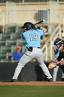 Matt Whatley (19) of the Hickory Crawdads at bat against the Kannapolis Intimidators at Kannapolis Intimidators Stadium on May 6, 2019 in Kannapolis, North Carolina. The Crawdads defeated the Intimidators 2-1 in game one of a double-header. (Brian Westerholt/Four Seam Images)