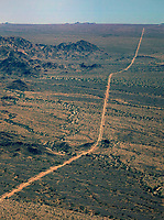 aerial photograph of desert road, Arizona, California