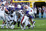 Samford Bulldogs running back Denzel Williams (25) in action during the game between the Samford Bulldogs and the TCU Horned Frogs at the Amon G. Carter Stadium in Fort Worth, Texas.  TCU leads Stamford 24 to 7 at halftime.