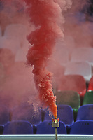 CALI - COLOMBIA, 20-12-2020: Detalle de humo durante el partido entre América de Cali e Independiente Santa Fe por la final ida como parte de la Liga BetPlay DIMAYOR 2020 jugado en el estadio Pascual Guerrero de la ciudad de Cali. / Detail of smoke during first leg final match as part of BetPlay DIMAYOR League 2020 between America de Cali and Independiente Santa Fe played at Pascual Guerrero stadium in Cali. Photo: VizzorImage / Ricardo Vejarano / Cont