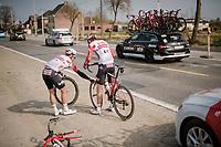 Tiesj Benoot (BEL/Lotto-Soudal) gets a fresh wheel from teammate Adam Blythe (GBR/Lotto-Soudal)<br /> <br /> 81st Gent-Wevelgem 'in Flanders Fields' 2019<br /> One day race (1.UWT) from Deinze to Wevelgem (BEL/251km)<br /> <br /> ©kramon