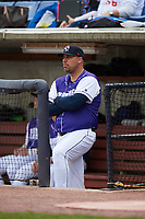 Binghamton Rumble Ponies hitting coach Valentino Pascucci (44) in the dugout before a game against the Akron RubberDucks on May 12, 2017 at NYSEG Stadium in Binghamton, New York.  Akron defeated Binghamton 5-1.  (Mike Janes/Four Seam Images)