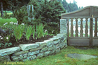 HF01-060x  Stone wall and gate, flower garden