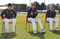 Alastair Cook of England and Essex (C) trys to stay warm alongside team mates James Foster (L) and Graham Napier - Essex County Cricket Club Press Day at the Essex County Ground, Chelmsford, Essex - 02/04/13 - MANDATORY CREDIT: Gavin Ellis/TGSPHOTO - Self billing applies where appropriate - 0845 094 6026 - contact@tgsphoto.co.uk - NO UNPAID USE.