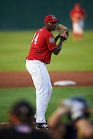 Auburn Doubledays pitcher McKenzie Mills (14) gets ready to deliver a pitch during a game against the State College Spikes on July 6, 2015 at Falcon Park in Auburn, New York.  State College defeated Auburn 9-7.  (Mike Janes/Four Seam Images)