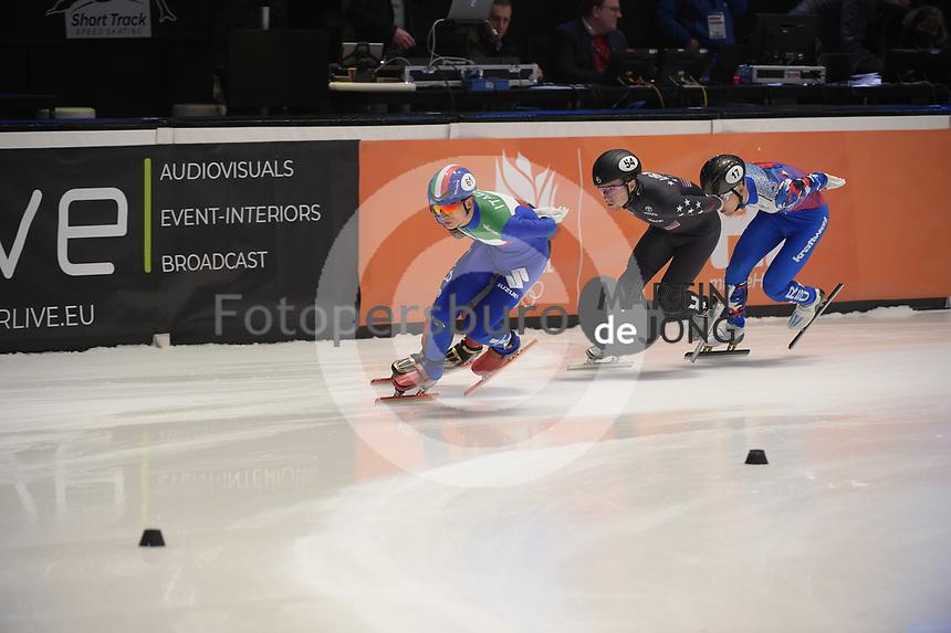 SPEEDSKATING: DORDRECHT: 06-03-2021, ISU World Short Track Speedskating Championships, SF 5000m Men, Pietro Sighel (ITA), (USA), (RSU), ©photo Martin de Jong
