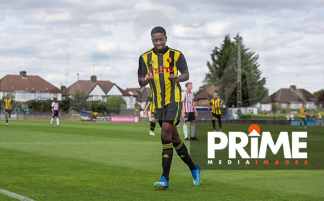 Michael Folivi of Watford celebrates his goal during the Professonal Development League match between Watford U23 and Sheffield United U23 at The Maurice Rebak Stadium, Summers Lane, England on 17 August 2018. Photo by Andy Rowland.
