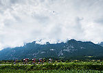 """The breakaway group 2'50"""" ahead during Stage 5 of the 2018 Criterium du Dauphine 2018 running 130km from Grenoble to Valmorel, France. 8th June 2018.<br /> Picture: ASO/Alex Broadway 