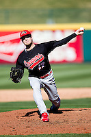 Dustin Quattrocchi (17) of the Southern Illinois University- Edwardsville Cougars delivers a pitch during a game against the Missouri State Bears at  Hammons Field on March 10, 2012 in Springfield, Missouri. (David Welker / Four Seam Images)