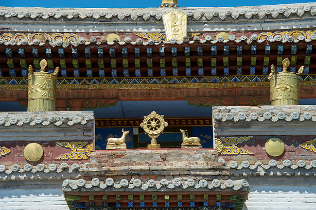 Detail of architecture of the Temple of Lavran at the Erdene Zuu monastery in Kharakhorum, Mongolia, Mongolia's largest monastery, (UNESCO World Heritage Site).