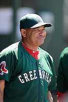 Hitting coach Nelson Paulino (22) of the Greenville Drive in a game against the Charleston RiverDogs on Sunday, June 28, 2015, at Fluor Field at the West End in Greenville, South Carolina. Charleston won, 12-9. (Tom Priddy/Four Seam Images)
