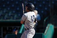 Austin Wells (10) of the Hudson Valley Renegades follows through on his swing against the Greensboro Grasshoppers at First National Bank Field on September 2, 2021 in Greensboro, North Carolina. (Brian Westerholt/Four Seam Images)
