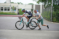 Iljo Keisse (BEL/OPQS) pushed back on the road after a flat<br /> <br /> Heistse Pijl 2014