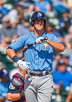 14 March 2016: Tampa Bay Rays infielder Casey Gillaspie, ranked the 9th Top Prospect in the Rays organization for 2016 by Baseball America and 8th by MLB, in action during a pre-season Spring Training game against the Atlanta Braves at Champion Stadium in the ESPN Wide World of Sports Complex in Kissimmee, Florida. The Ray fell to the Braves 5-0 in Grapefruit League play. Mandatory Credit: Ed Wolfstein Photo *** RAW (NEF) Image File Available ***