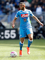 Calcio, Serie A: Roma vs Napoli. Roma, stadio Olimpico, 25 aprile 2016.<br /> Napoli's Faouzi Ghoulam in action during the Italian Serie A football match between Roma and Napoli at Rome's Olympic stadium, 25 April 2016.<br /> UPDATE IMAGES PRESS/Riccardo De Luca