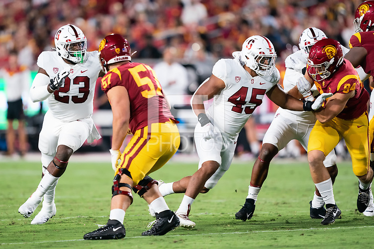 LOS ANGELES, CA - SEPTEMBER 11: Ryan Johnson, Ricky Miezan during a game between University of Southern California and Stanford Football at Los Angeles Memorial Coliseum on September 11, 2021 in Los Angeles, California.
