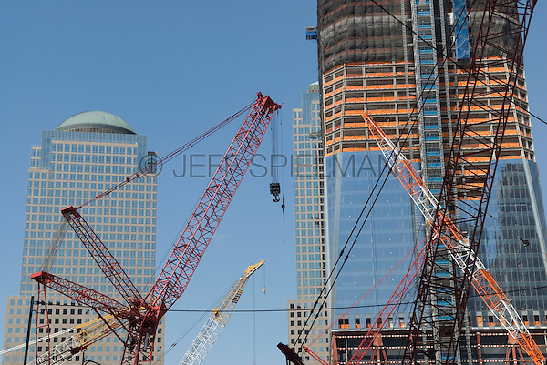 AVAILABLE FROM JEFF FOR EDITORIAL LICENSING.<br /> <br /> Construction of the new One World Trade Center at Ground Zero - April 2011.  Lower Manhattan's Financial District, New York City, New York State, USA.. The new One World Trade Center will be 1,776 feet tall (the tallest building in the Northern Hemisphere) when completed in 2013.