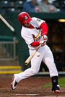 Alan Ahmady (38) of the Springfield Cardinals makes contact on a pitch during a game against the Northwest Arkansas Naturals on May 13, 2011 at Hammons Field in Springfield, Missouri.  Photo By David Welker/Four Seam Images.