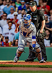 22 June 2019: Toronto Blue Jays catcher Luke Maile awaits a late throw home as Boston Red Sox right fielder Mookie Betts slides home safely in the second inning at Fenway :Park in Boston, MA. The Blue Jays rallied to defeat the Red Sox 8-7 in the 2nd game of their 3-game series. Mandatory Credit: Ed Wolfstein Photo *** RAW (NEF) Image File Available ***