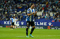 22nd September 2021: RCDE Stadium, Barcelona, Spain: La Liga Football, Espanyol versus Atletico Madrid;  Cabrera celebrates with the fans after final whistle