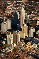 Aerial photography of downtown / uptown / center city Charlotte, NC, by photographer Patrick Schneider. Charlotte is the largest city in North Carolina and the seat of Mecklenburg County. An estimated 687,500 people live in Charlotte, making it one of the 20 largest cities in the country.