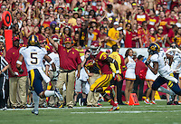 LOS ANGELES, CA - September 22, 2012:  USC wide receiver Marqise Lee (9) during the USC Trojans vs the Cal Bears at the Los Angeles Memorial Coliseum in Los Angeles, CA. Final score USC 27, Cal 9..