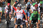 Caleb Ewan (AUS) Lotto-Soudal outsprints Elia Viviani (ITA) Deceuninck-Quick Step and Dylan Groenewegen (NED) Team Jumbo-Visma to win Stage 16 of the 2019 Tour de France running 177km from Nimes to Nimes, France. 23rd July 2019.<br /> Picture: Colin Flockton   Cyclefile<br /> All photos usage must carry mandatory copyright credit (© Cyclefile   Colin Flockton)