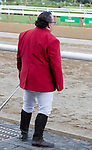 """Sam """"The Bugler"""" Grossman plays an extended seranade for the crowd in his final call to the post at Saratoga Race Course, Sep. 3, 2018.    This final call, as the Saratoga meet ends, marks the retirement of Grossman after 25 years of service.  (Bruce Dudek/Eclipse Sportswire)"""