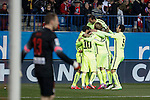Barcelona´s Neymar Jr celebrates a goal with his team mates during Copa del Rey `Spanish King Cup´ soccer match at Vicente Calderon stadium in Madrid, Spain. January 28, 2015. (ALTERPHOTOS/Victor Blanco)