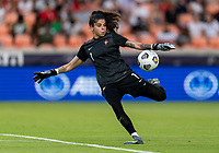 HOUSTON, TX - JUNE 10: Ines Pereira #1 of Portugal punts the ball during a game between Portugal and USWNT at BBVA Stadium on June 10, 2021 in Houston, Texas.