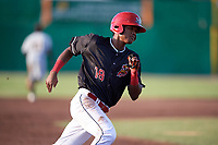 Batavia Muckdogs center fielder Brayan Hernandez (18) runs the bases during a game against the West Virginia Black Bears on June 20, 2018 at Dwyer Stadium in Batavia, New York.  West Virginia defeated Batavia 4-3.  (Mike Janes/Four Seam Images)