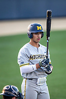 Michigan Wolverines outfielder Tito Flores (22) at the plate during the NCAA baseball tournament against the Connecticut Huskies on June 4, 2021 at Frank Eck Stadium in Notre Dame, Indiana. The Huskies defeated the Wolverines 6-1. (Andrew Woolley/Four Seam Images)