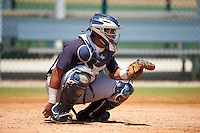 GCL Yankees East catcher Ronaldo Suarez (27) warms up on a side field during a game against the GCL Pirates on August 15, 2016 at the Pirate City in Bradenton, Florida.  GCL Pirates defeated GCL Yankees East 5-2.  (Mike Janes/Four Seam Images)