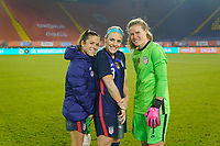 BREDA, NETHERLANDS - NOVEMBER 27: Kelley O'Hara #5, Julie Ertz #8 and Alyssa Naeher #1 of the United States celebrate they're win over the Netherlands during a game between Netherlands and USWNT at Rat Verlegh Stadion on November 27, 2020 in Breda, Netherlands.