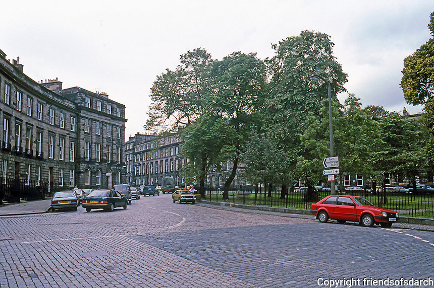 Edinburgh: Ainslee Place, an oval connected to Charlotte Square by Glenfinlas St. Ainslee & Charlotte are both now heavily-used traffic roundabouts.  Photo 1987.