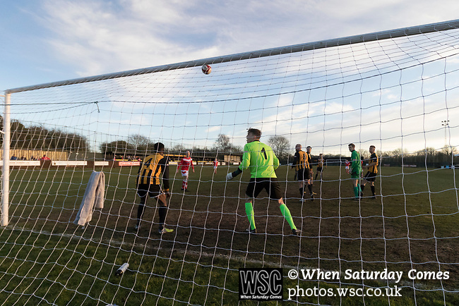 Rushall Olympic 1 Workingon 0, 17/02/2018. Dales Lane, Northern Premier League Premier Division. A shot flies just over the Rushall bar in injury time. Photo by Paul Thompson. Rushall Olympic 1 Workingon 0, Northern Premier League Premier Division, 17th February 2018. Rushall is a former mining village now part of the northern suburbs of Walsall.