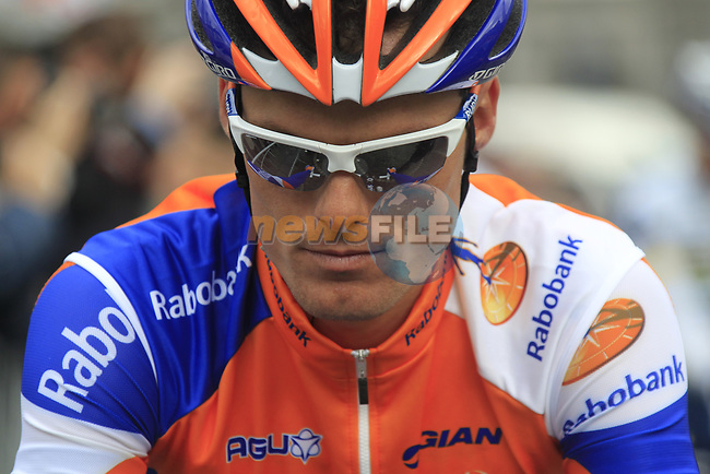 Luis-Leon Sanchez (ESP) Rabobank Cycling Team makes his way to sign on before the start of the 98th edition of Liege-Bastogne-Liege outside the Palais des Princes-Eveques, running 257.5km from Liege to Ans, Belgium. 22nd April 2012.  <br /> (Photo by Eoin Clarke/NEWSFILE).